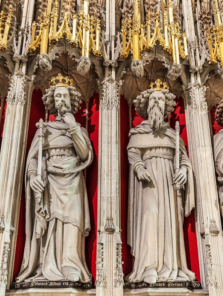 Two of the 15 statues in the 15th Century Kings screen @ York Minster - York, England, UK