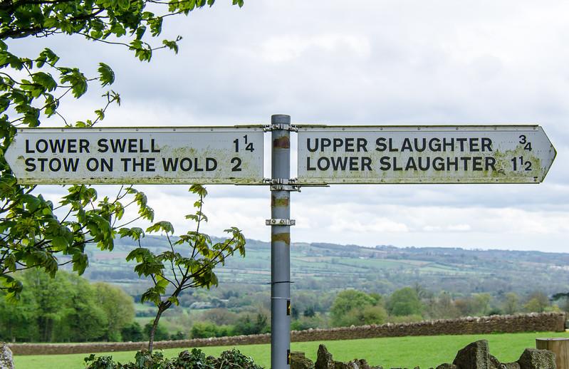 Road Sign - Upper Slaughter, England, UK