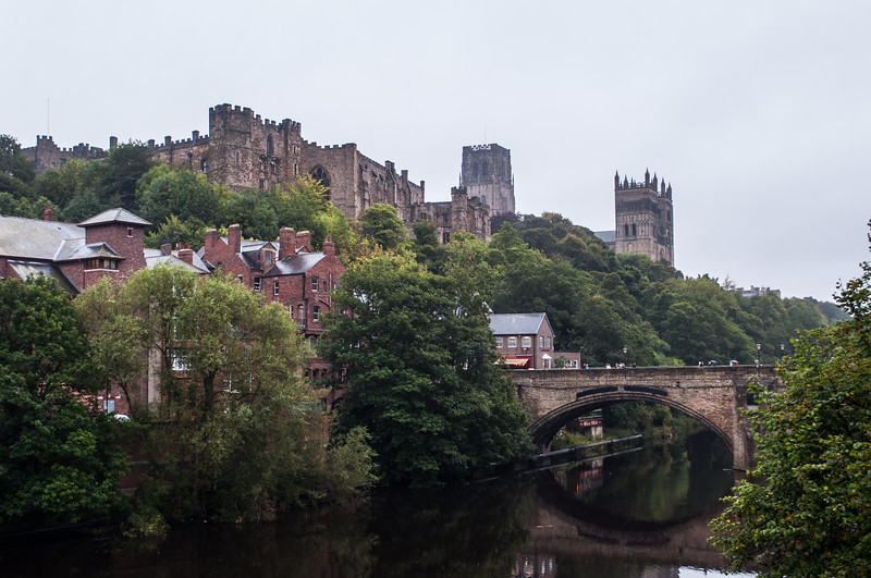 View of Durham Castle and Durham Cathedral from accross the River Wear.