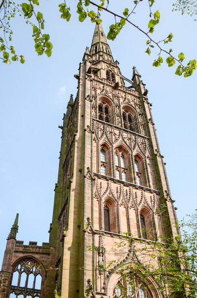 Tower & Spire of Old Coventry Cathedral - Coventry, England, UK