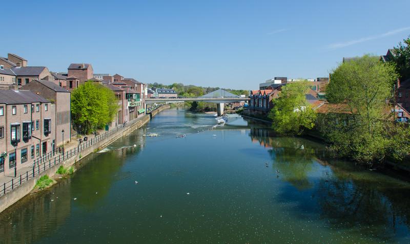Leazes Rd Bridge from Framwellgate Bridge on the River Wear - Durham, England, UK