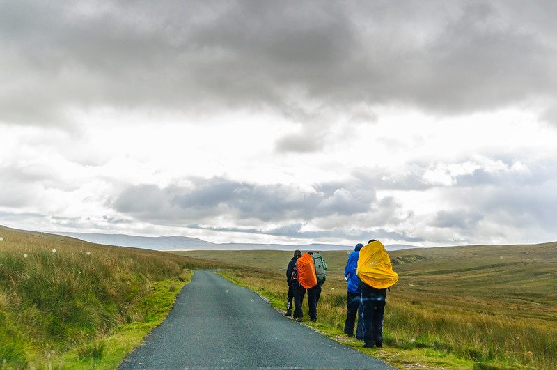 Hikers on Long Causeway @ Tan Hill Inn - North Yorkshire, England, UK