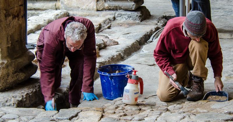 Archaeologists - Roman Baths - Bath, Avon, England, UK