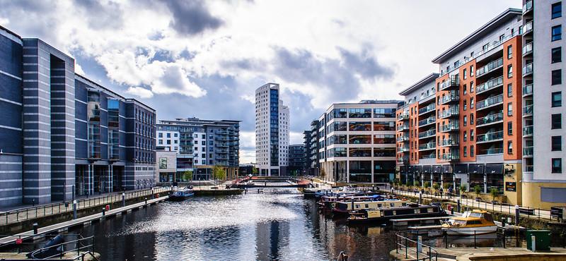 Clarence Dock & Canal Boats - Leeds, England, UK