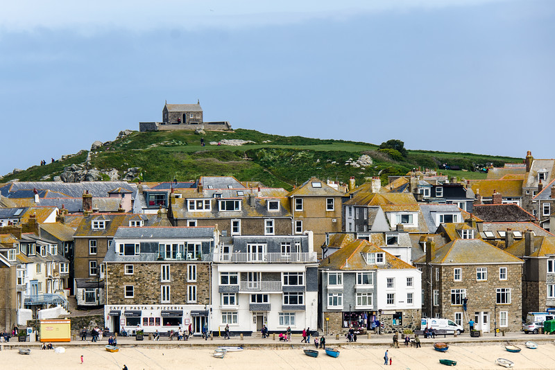 St. Nicolas Chapel On The Island Overlooking St. Ives Harbor - St. Ives, Cornwall, England, UK