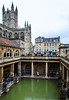 Great Bath & Bath Abbey - Roman Baths From The Terrace - Bath, Avon, England, UK