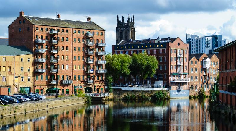 The Calls Landing & Leeds Minster from Leeds Bridge - Leeds, England, UK