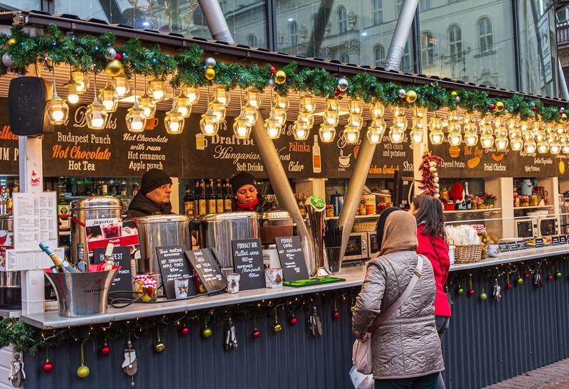 Cafe de Paris at the Christmas Market on Vörösmarty tér - Budapest, Hungary