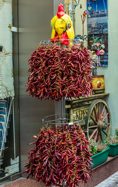 Dried Chili Peppers (aka spice peppers & paprika) on Vaci Utca - Budapest, Hungary