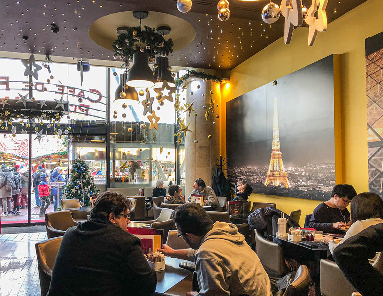 Inside Cafe de Paris at the Christmas Market on Vörösmarty tér - Budapest, Hungary