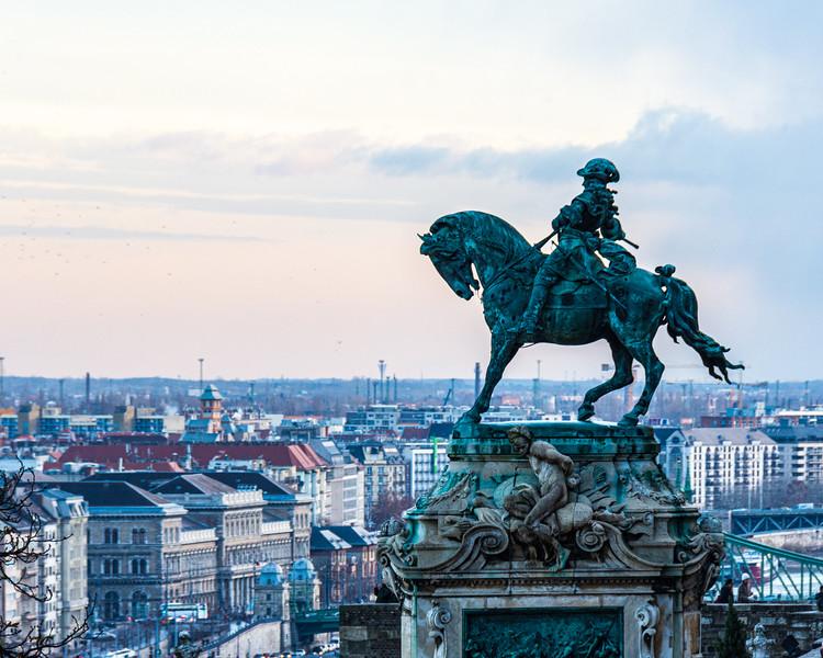 Statue of Prince Eugene of Savoy (c. 1900 by József Róna) Looking Over Budapest @ Buda Castle - Budapest, Hungary, EU