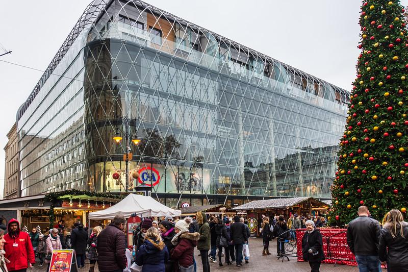 Modern Glass & Steel Building on Vörösmarty tér - Budapest, Hungary