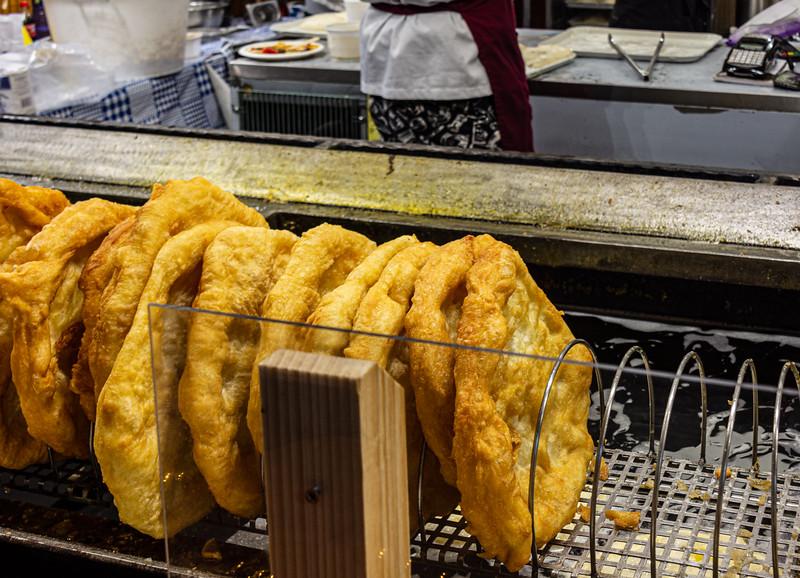 Fried Bread (Lángos) @ Christmas Market on Vörösmarty tér - Budapest, Hungary