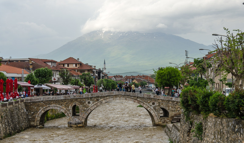 Reconstructed Old Stone Bridge over the Lumbardh River.  Original built in 1400's.  Destroyed by a flood in 1979.  Rebuilt in 1982.  - Prizren, Kosovo
