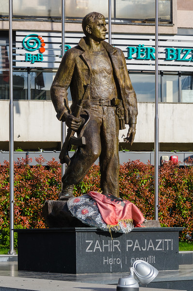 Statue of Zahir Pajaziti, a Commander of the KLA - Pristina, Kosovo
