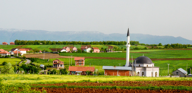 Village, Minaret & Mosque - Highway R110, Kosovo