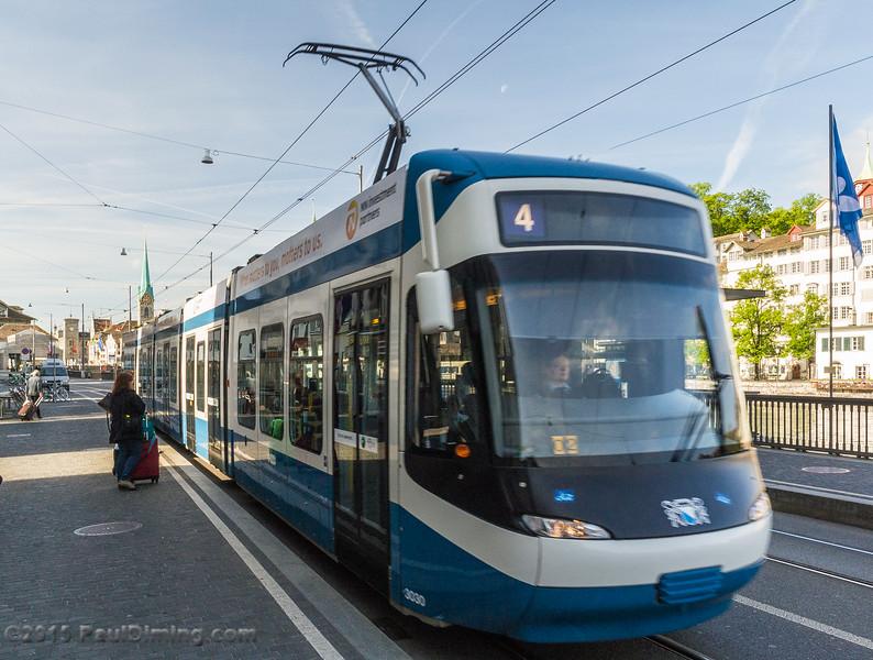 Number 4 Tram, Rudolf-Brun-Brücke - Zurich, Switzerland