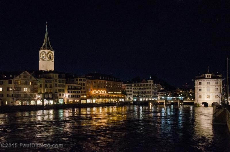 St. Peter Church Tower, Limmat River & Rathaus - Zurich, Switzerland
