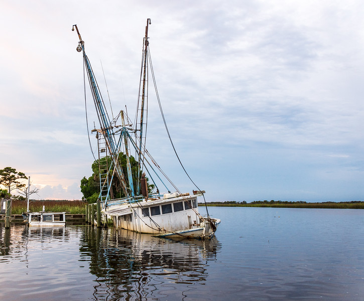 Lady Louise (bow) on Scipio Creek, Apalachicola, FL