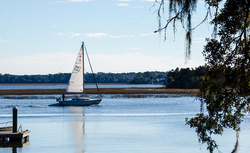 Sailboat on Skidaway River - Isle of Hope, Savannah, GA