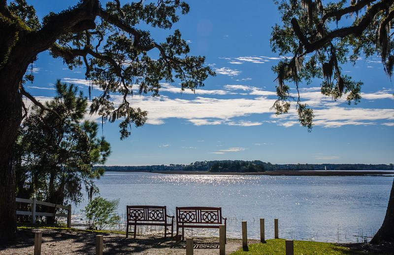 Benches on Skidaway River - Isle of Hope, Savannah, GA