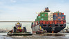 Container Ship Al Rawdah; Tugboats James A. Moran and Cape Charles on the Savannah River Aproaching Talmadge Memorial Bridge - Savannah, GA