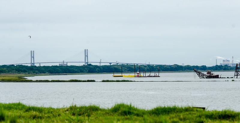 Talmadge Memorial Bridge from Fort James Jackson - Chatham County, GA