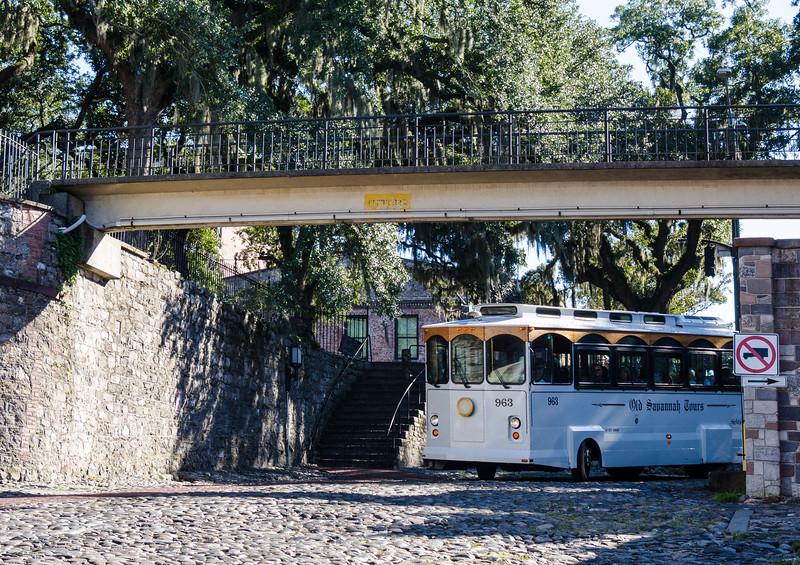 Old Savannah Tours Bus turning onto River Street - Savannah, GA