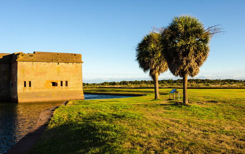 Southwest Bastion, Moat & Palm Trees @ Fort Pulaski National Monument - Savannah, GA