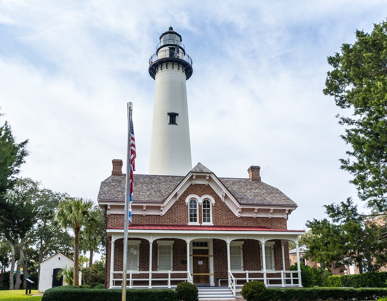 St. Simons Lighthouse & Keeper's House c. 1872 - St. Simons Island, GA