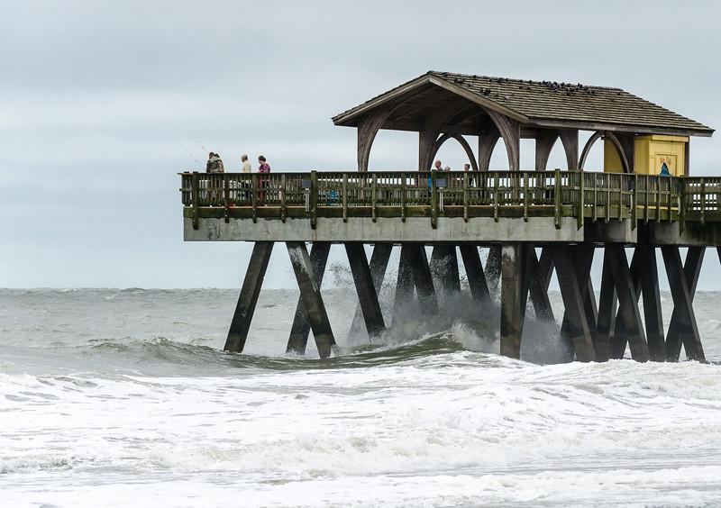 Waves Crashing on Tybee Pier - Tybee Island, GA