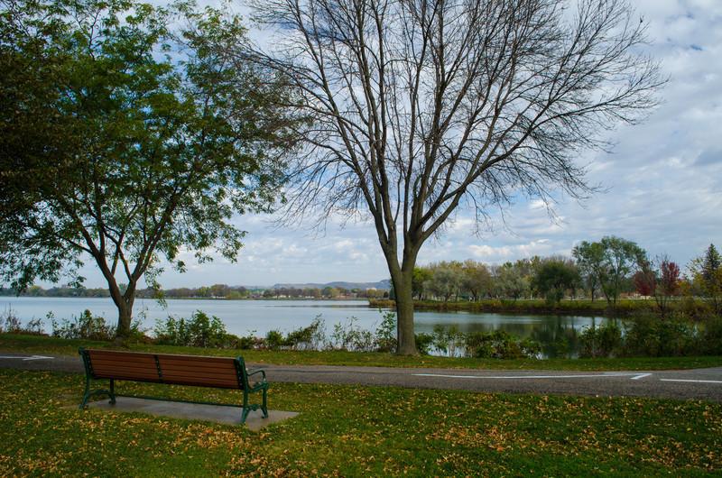 Park Bench in Lake Park - Winona, MN by Paul Diming