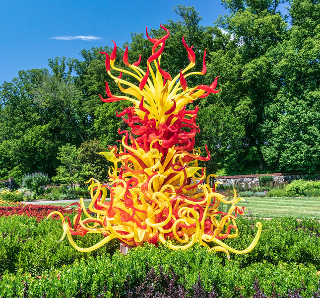 Paintbrush Tower 2, 2014 by Dale Chihuly, American, b. 1941 in the Walled Garden @ Biltmore Estate - Asheville, NC