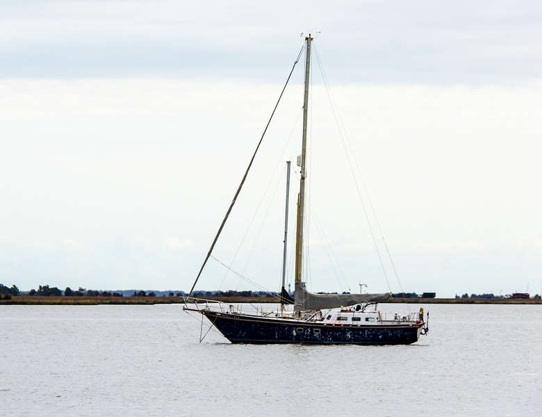 Sailboat at Anchor in Shallowbag Bay - Manteo, NC