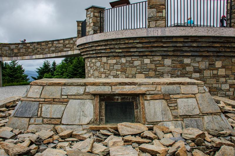 Tomb of Dr. Elisha Mitchell (1793-1857) on Mt. Mitchell Summit @ Mt Mitchell State Park - Yancey County, NC