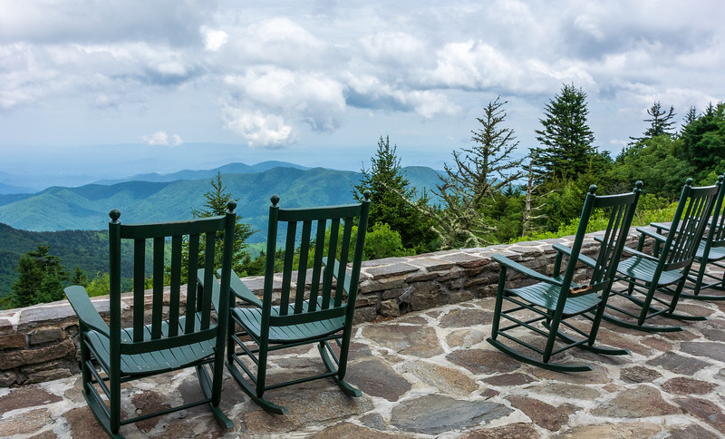 Lodge Rocking Chair View @ Mt. Mitchell State Park - Burnsville, NC
