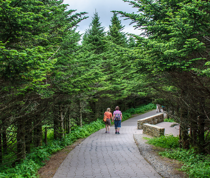 Walkers on Mt. Mitchell Summit Trail @ Mt Mitchell State Park - Yancey County, NC