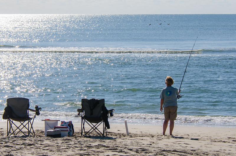 Woman Surf Fishing - Hatteras, NC