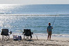 Woman Surf Fishing - Hatteras, NC