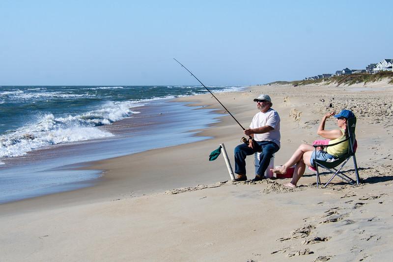 Surf Fishing Couple - Hatteras, NC