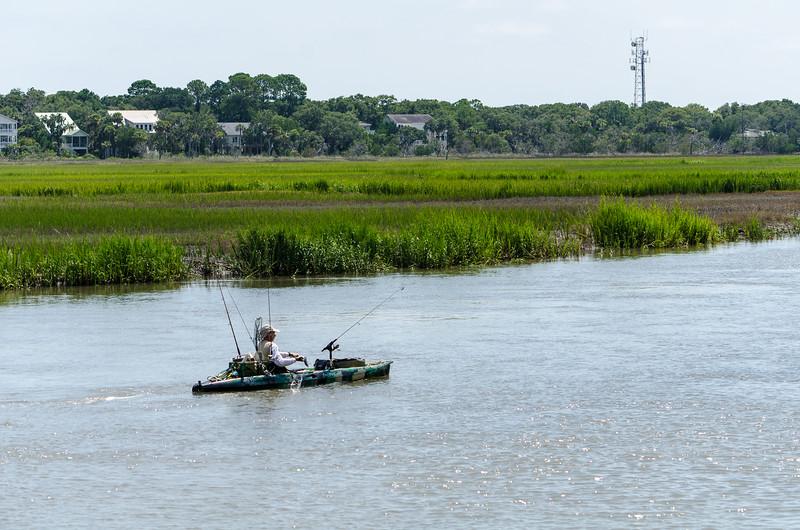 Fisherman Kayaking - Wadmalaw River, Edisto Island, SC