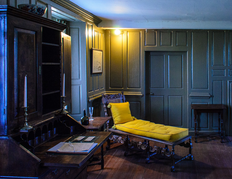 Walnet Desk c. 1725 & Bookcase with Squab & Pillows c. late 1700's in The Hall @ Bacon's Castle - Surry, VA