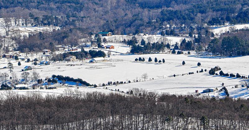 Horse Farm in Rockfish Valley from Afton Mountain - Afton, VIrginia, USA