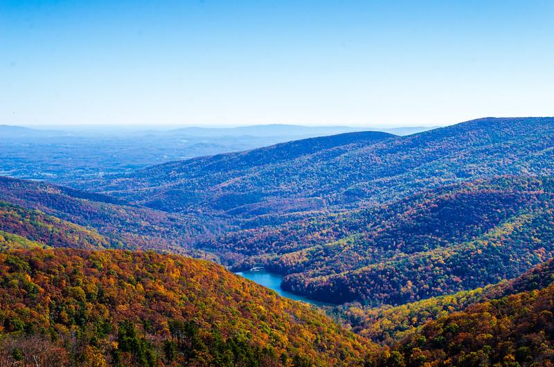 Charlottesville Reservoir from Moormans River Overlook - Mile 92, Skyline Drive, Shenandoah National Park, Crozet, VA