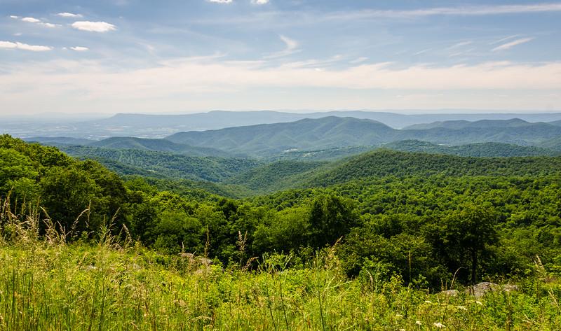 Wide Angle: Massanutten & Grindstone Mountains & Long Ridge from Hazeltop Ridge Overlook - Mile 54.4, Skyline Drive, Shenandoah National Park, Luray, VA