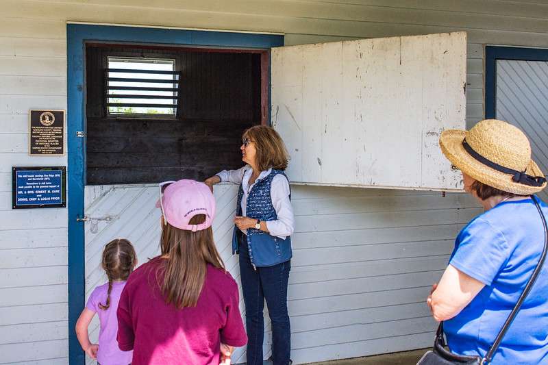 Leeanne Meadows Ladin with visitors at Secretariat's Foaling Shed @ The Meadow - Caroline County, VA