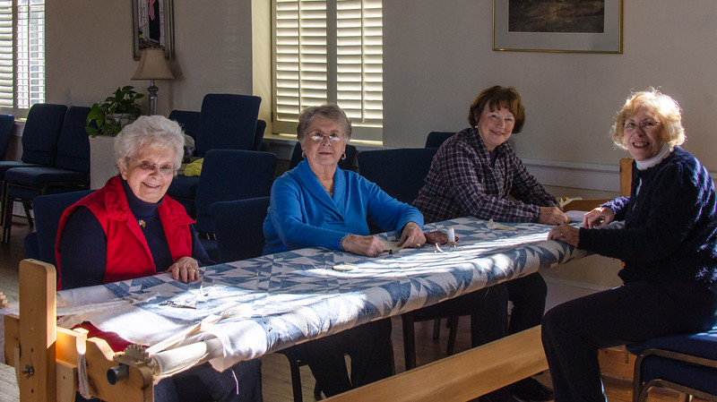 Middlesex County Woman's Club Members working on a quilt - Urbanna, VA