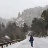 Walking on the closed park road at Chiricahua National Monument during snow when we first arrived.  It got down to 17 that n night.