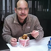 Me eating my breakfast at the Wuhan office