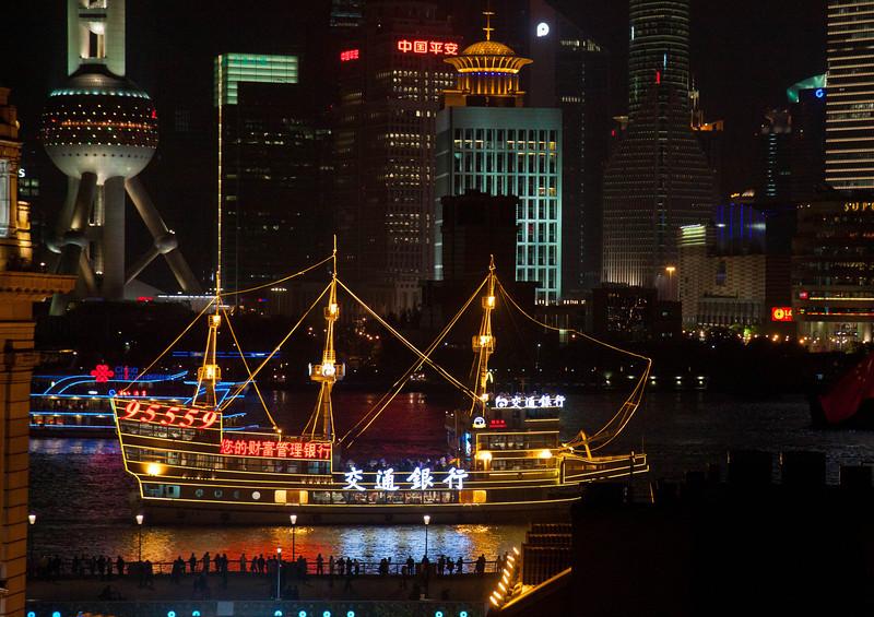 Shanghai Bund at night from hostel rooftop.
